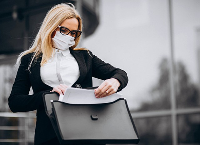 business woman checking docs