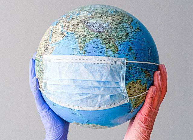 globe with surgical mask