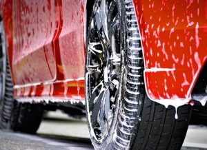 car wheels with soap