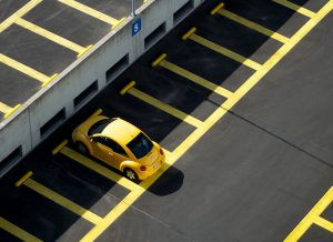 yellow car parked