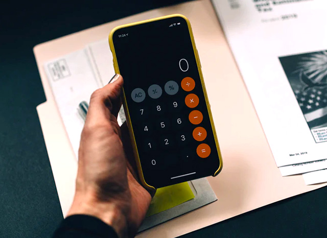 phone calculator and documents